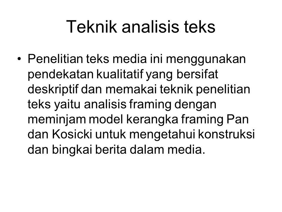 Framing Pan Kosicki Eriyanto memaparkan framing model Pan dan Kosicki yang menilai teks berita bukan sebagian rangsangan psikologis yang disertai dengan makna yang teridentifikasi secara objektif.