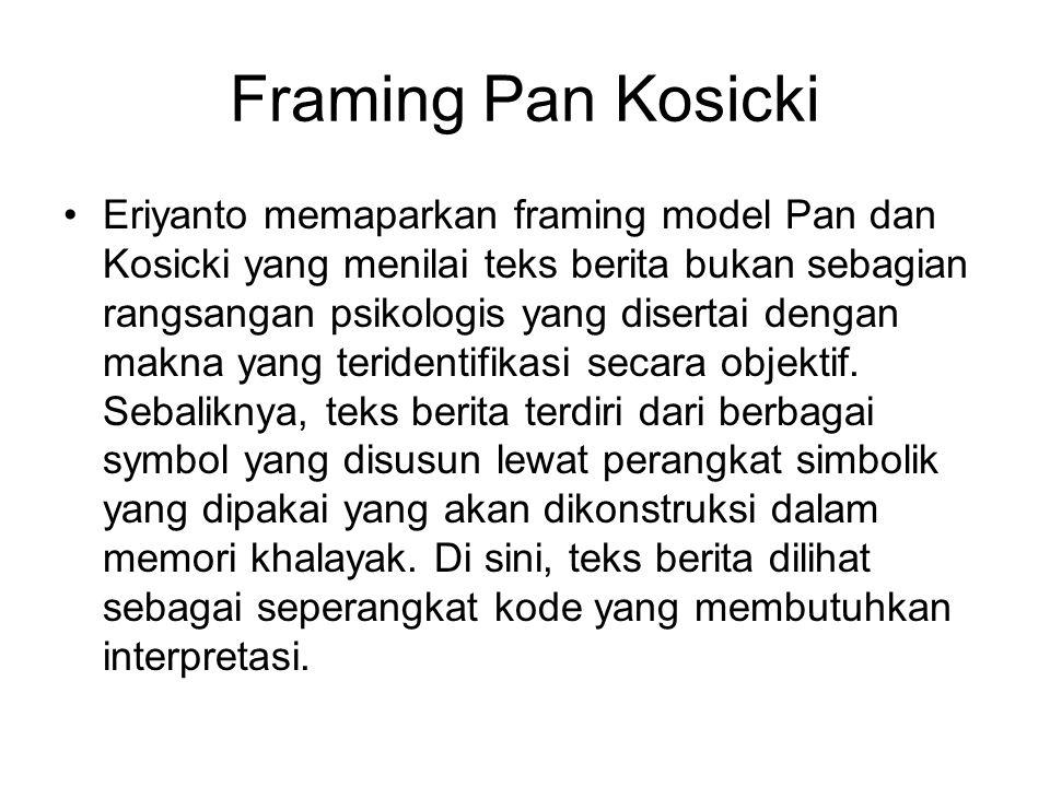 Framing Pan Kosicki Eriyanto memaparkan framing model Pan dan Kosicki yang menilai teks berita bukan sebagian rangsangan psikologis yang disertai deng