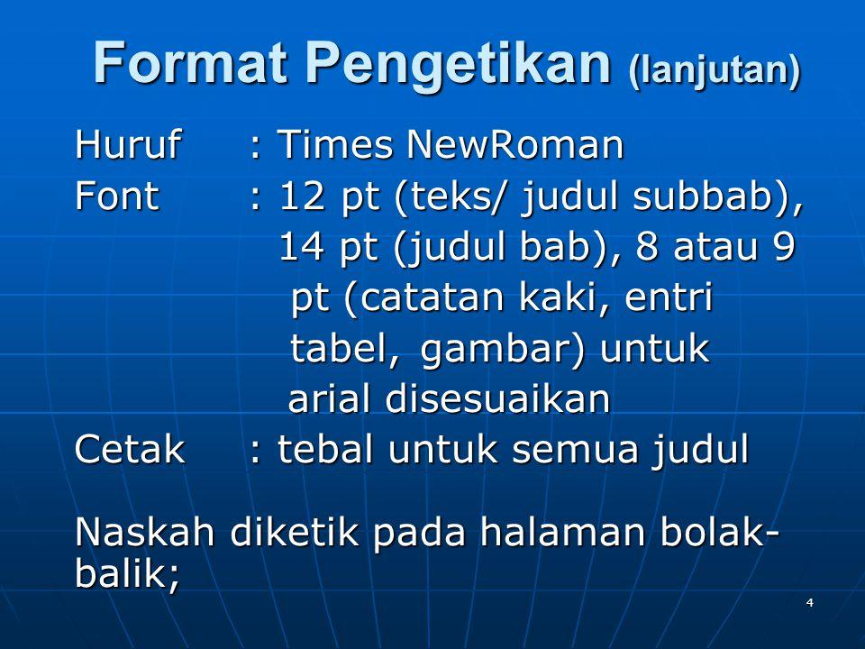 5 Spasi: 1 Pias: 4 cm kiri, 3 cm kanan, atas, bawah bawah Paragraf: 1,0 cm menjorok ke dalam Kolom : 1 atau 2 sesuai kebutuhan 2 kolom : jarak antar kolom 0.8 cm, font 10 (teks), 12 (judul), font 10 (teks), 12 (judul), paragraf (0,5cm) paragraf (0,5cm) Format Pengetikan (lanjutan)