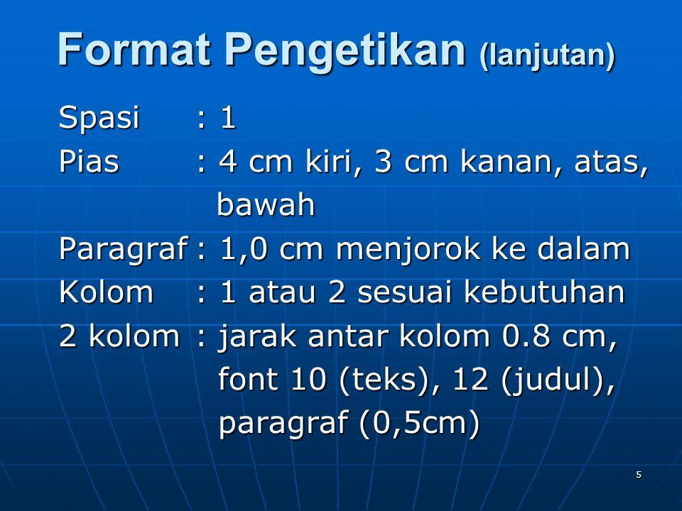 5 Spasi: 1 Pias: 4 cm kiri, 3 cm kanan, atas, bawah bawah Paragraf: 1,0 cm menjorok ke dalam Kolom : 1 atau 2 sesuai kebutuhan 2 kolom : jarak antar k