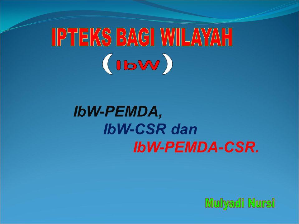 IbW-PEMDA, IbW-CSR dan IbW-PEMDA-CSR.