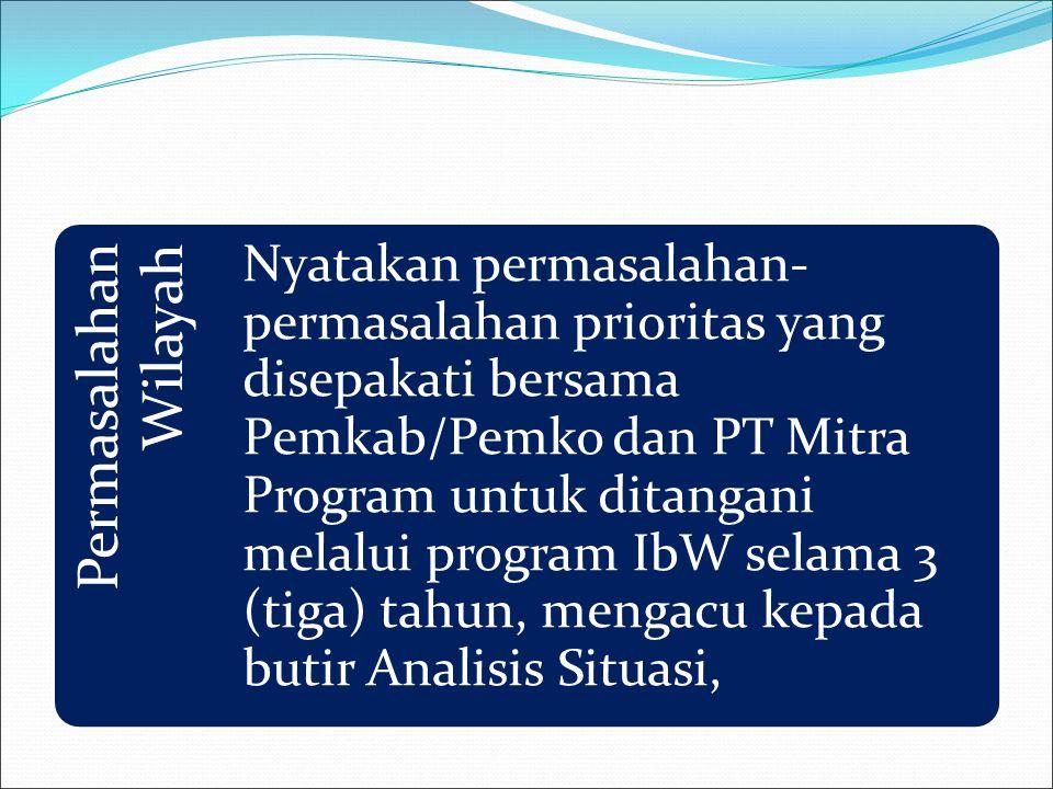 Permasalahan Wilayah Nyatakan permasalahan- permasalahan prioritas yang disepakati bersama Pemkab/Pemko dan PT Mitra Program untuk ditangani melalui p