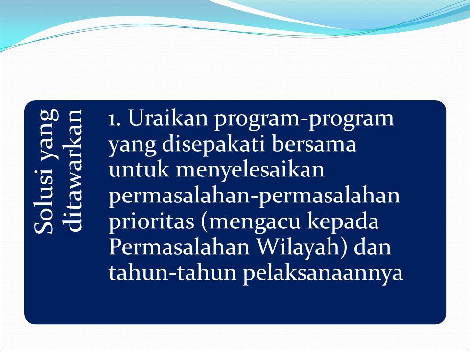 Solusi yang ditawarkan 1. Uraikan program-program yang disepakati bersama untuk menyelesaikan permasalahan-permasalahan prioritas (mengacu kepada Perm
