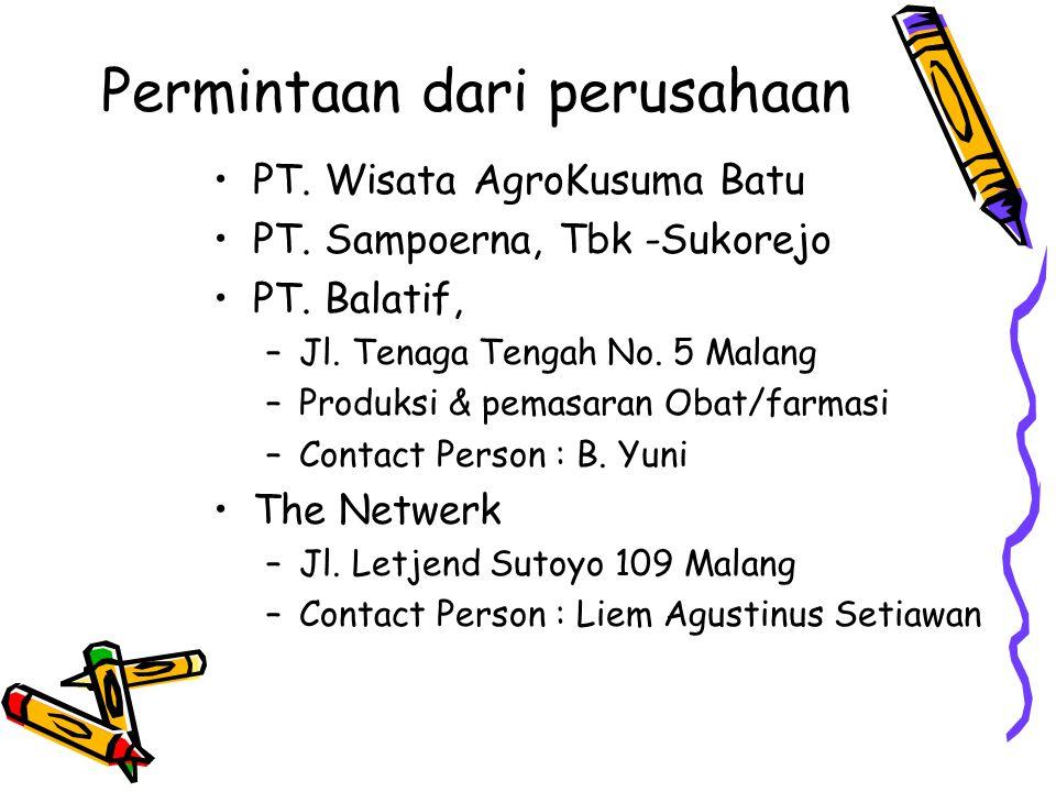 Permintaan dari perusahaan PT. Wisata AgroKusuma Batu PT. Sampoerna, Tbk -Sukorejo PT. Balatif, –Jl. Tenaga Tengah No. 5 Malang –Produksi & pemasaran