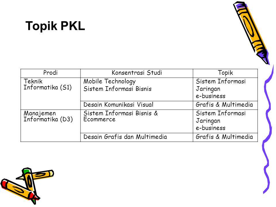 Topik PKL ProdiKonsentrasi StudiTopik Teknik Informatika (S1) Mobile Technology Sistem Informasi Bisnis Sistem Informasi Jaringan e-business Desain Ko
