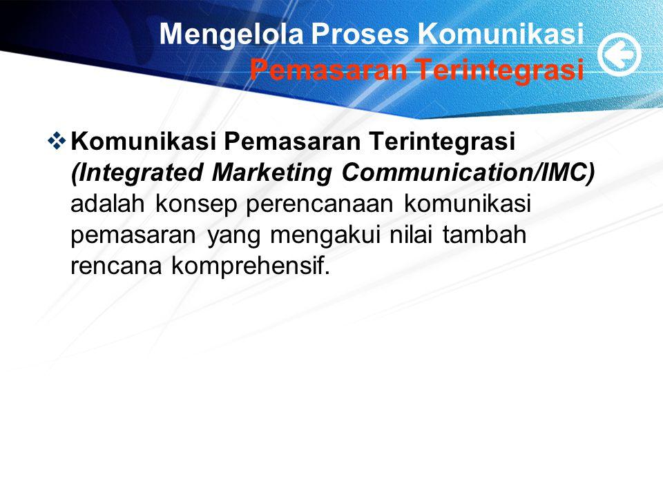 Mengelola Proses Komunikasi Pemasaran Terintegrasi  Komunikasi Pemasaran Terintegrasi (Integrated Marketing Communication/IMC) adalah konsep perencanaan komunikasi pemasaran yang mengakui nilai tambah rencana komprehensif.