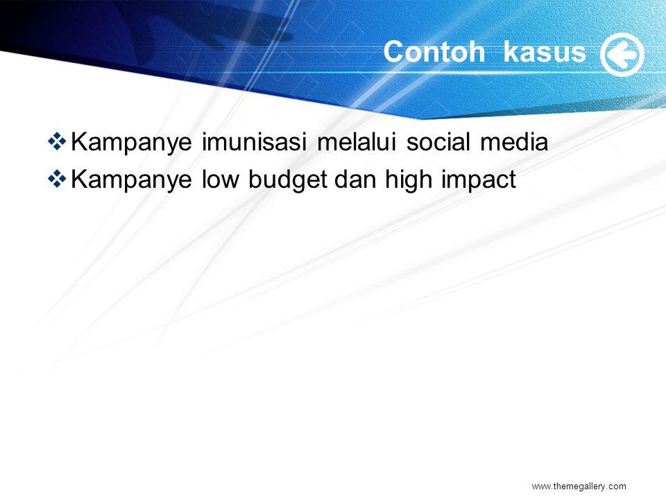 Contoh kasus  Kampanye imunisasi melalui social media  Kampanye low budget dan high impact www.themegallery.com