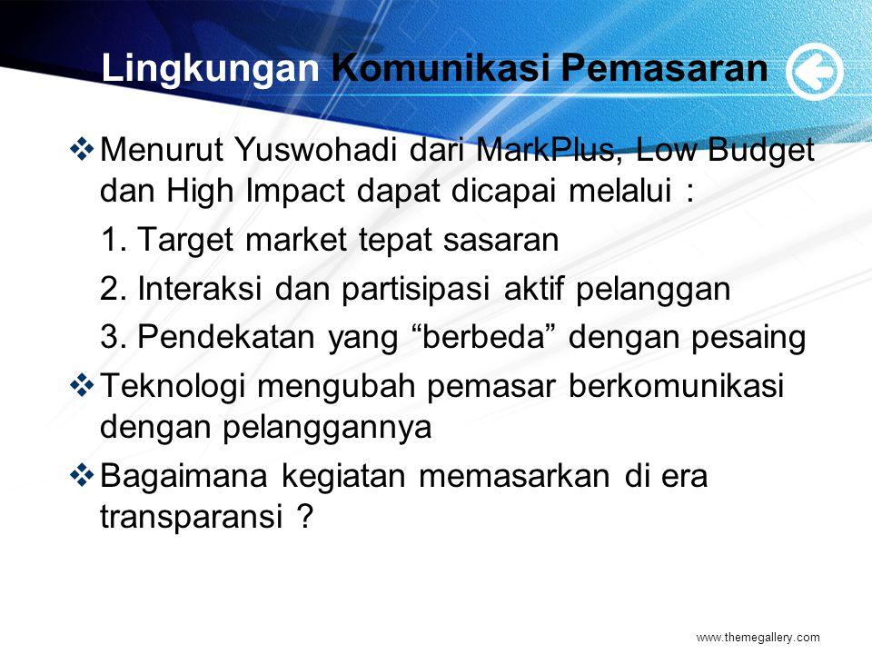 Lingkungan Komunikasi Pemasaran  Menurut Yuswohadi dari MarkPlus, Low Budget dan High Impact dapat dicapai melalui : 1.