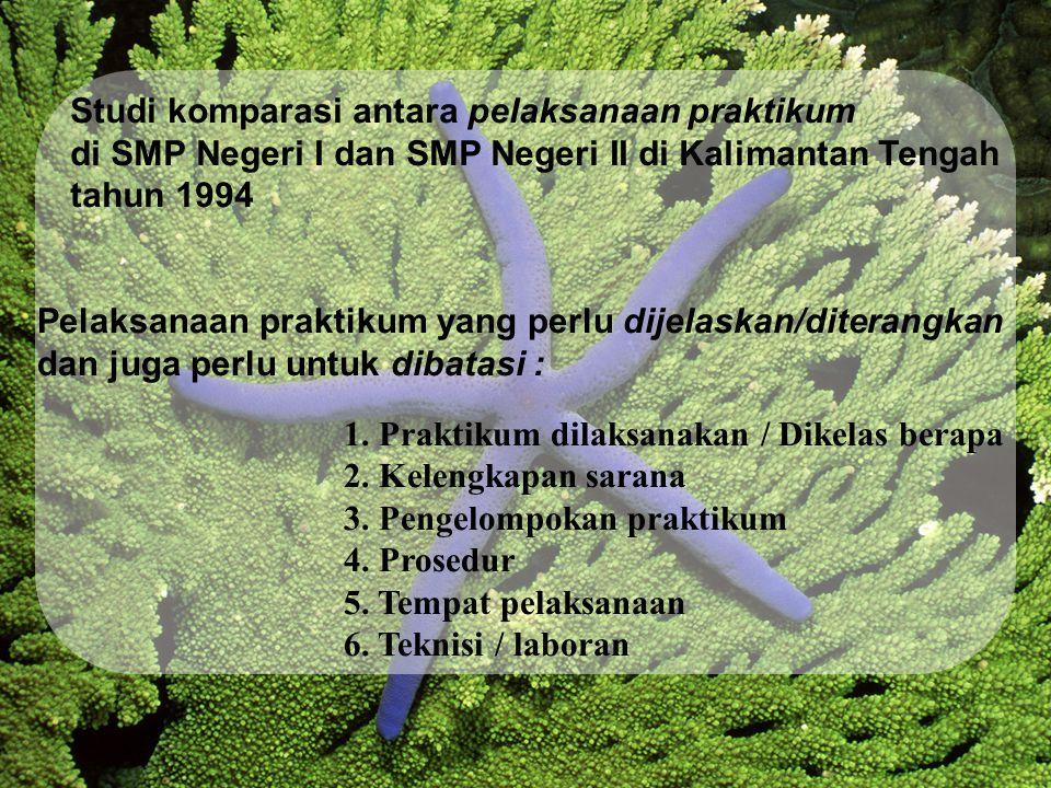 Studi komparasi antara pelaksanaan praktikum di SMP Negeri I dan SMP Negeri II di Kalimantan Tengah tahun 1994 Pelaksanaan praktikum yang perlu dijelaskan/diterangkan dan juga perlu untuk dibatasi : 1.