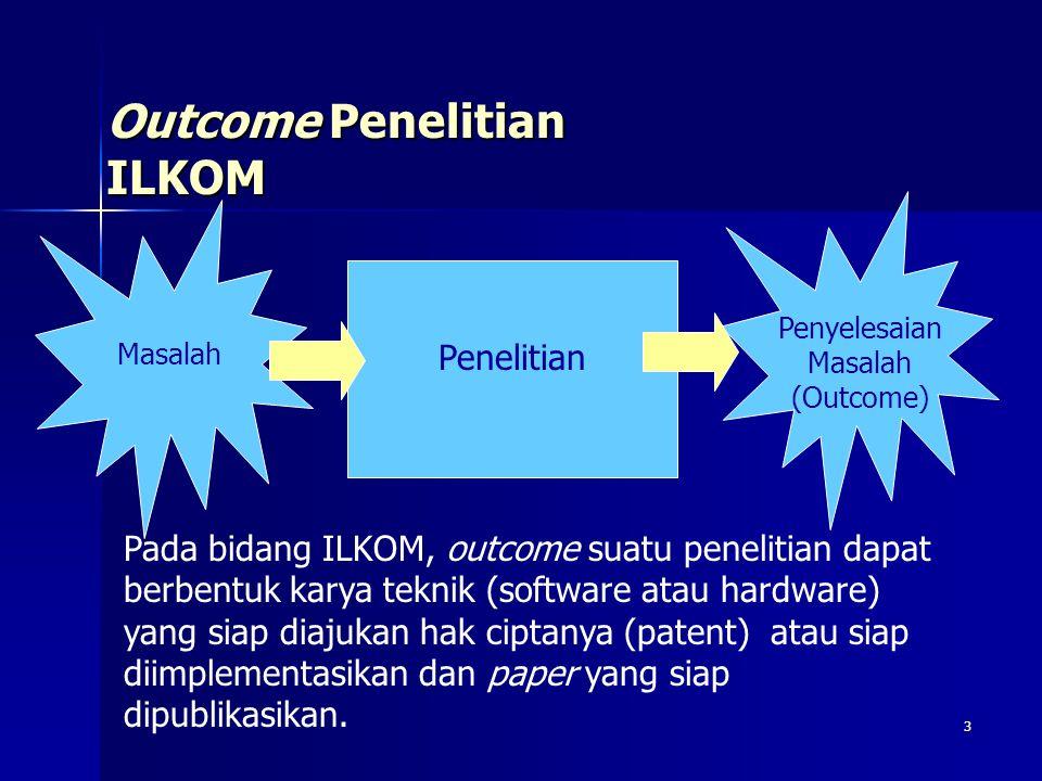 3 Outcome Penelitian ILKOM Masalah Penelitian Penyelesaian Masalah (Outcome) Pada bidang ILKOM, outcome suatu penelitian dapat berbentuk karya teknik (software atau hardware) yang siap diajukan hak ciptanya (patent) atau siap diimplementasikan dan paper yang siap dipublikasikan.