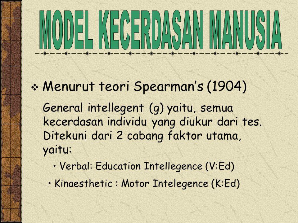  Menurut teori Spearman's (1904) General intellegent (g) yaitu, semua kecerdasan individu yang diukur dari tes. Ditekuni dari 2 cabang faktor utama,