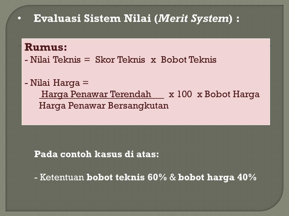 Evaluasi Sistem Nilai (Merit System) : Rumus: - Nilai Teknis = Skor Teknis x Bobot Teknis - Nilai Harga = Harga Penawar Terendah x 100 x Bobot Harga Harga Penawar Bersangkutan Pada contoh kasus di atas: - Ketentuan bobot teknis 60% & bobot harga 40%