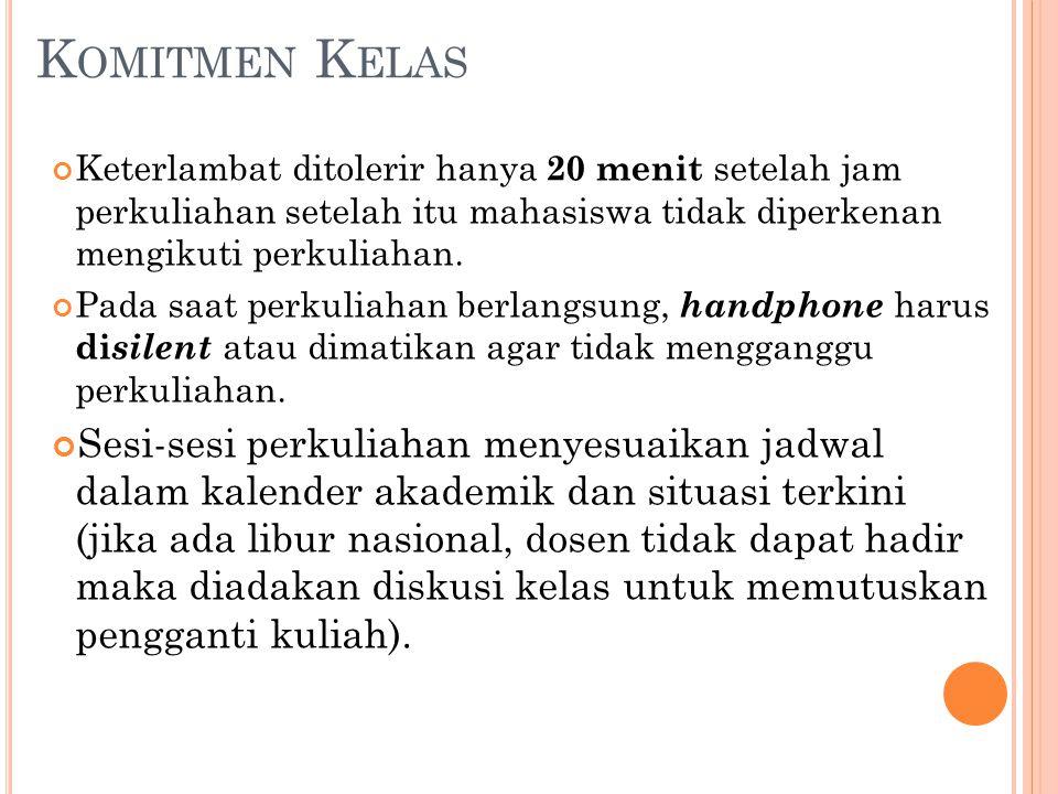 J IKA B ERHALANGAN H ADIR Ketidakhadiran karena alasan yang dapat diterima wajib disampaikan langsung kepada dosen melalui SMS di 081342669222.