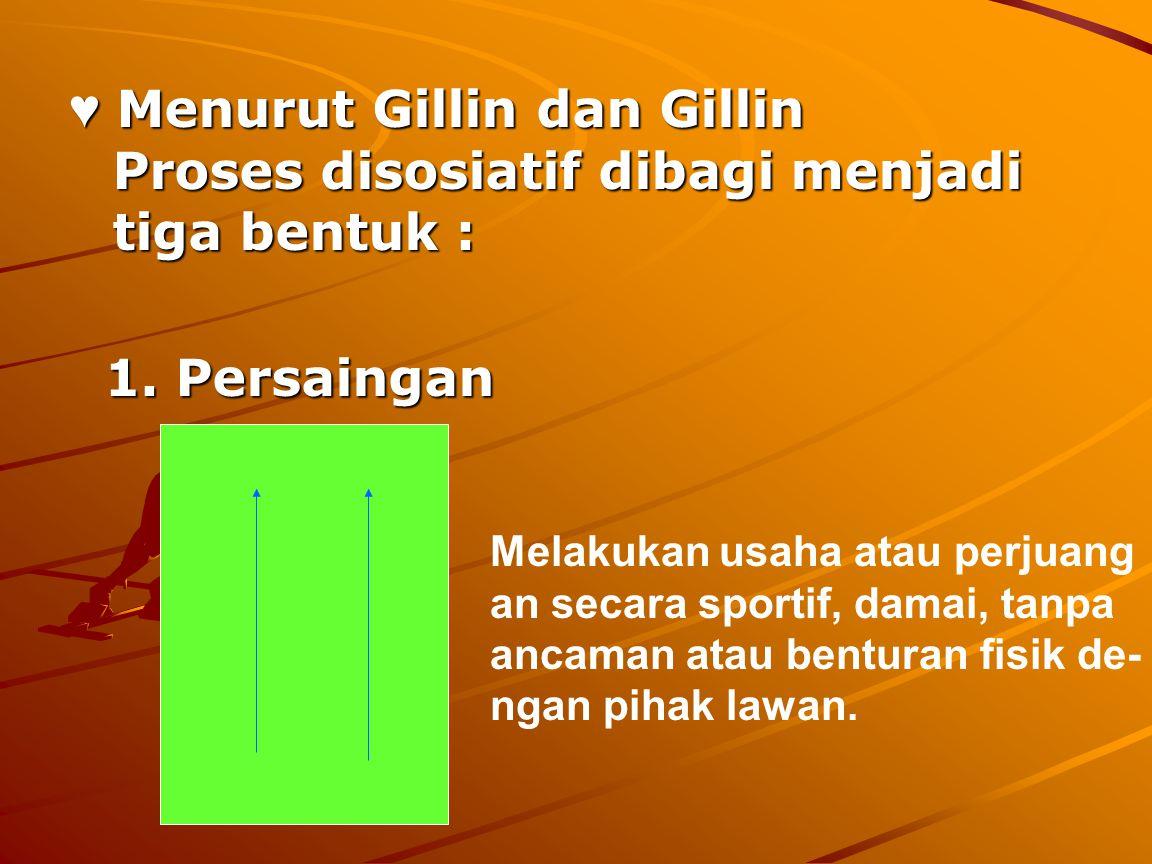 ♥ Menurut Gillin dan Gillin Proses disosiatif dibagi menjadi tiga bentuk : 1. Persaingan 1. Persaingan Melakukan usaha atau perjuang an secara sportif
