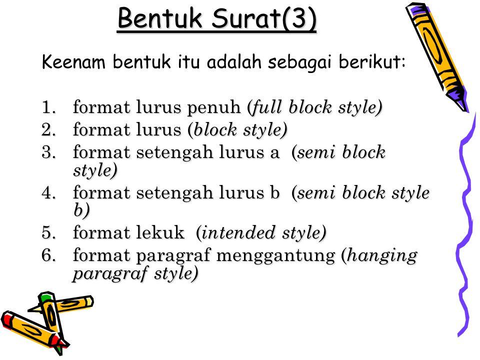 Bentuk Surat(3) Keenam bentuk itu adalah sebagai berikut: 1.format lurus penuh ( full block style) 2.format lurus ( block style) 3.format setengah lur