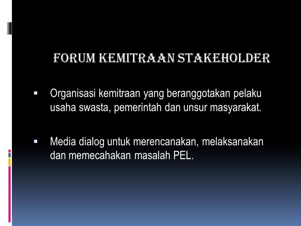 FORUM KEMITRAAN STAKEHOLDER  Organisasi kemitraan yang beranggotakan pelaku usaha swasta, pemerintah dan unsur masyarakat.  Media dialog untuk meren