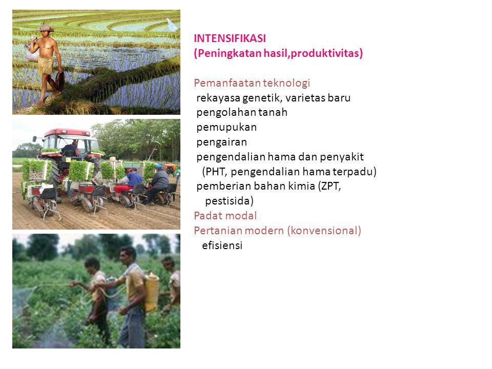 INTENSIFIKASI (Peningkatan hasil,produktivitas) Pemanfaatan teknologi rekayasa genetik, varietas baru pengolahan tanah pemupukan pengairan pengendalia