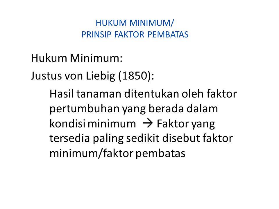 HUKUM MINIMUM/ PRINSIP FAKTOR PEMBATAS Hukum Minimum: Justus von Liebig (1850): Hasil tanaman ditentukan oleh faktor pertumbuhan yang berada dalam kon
