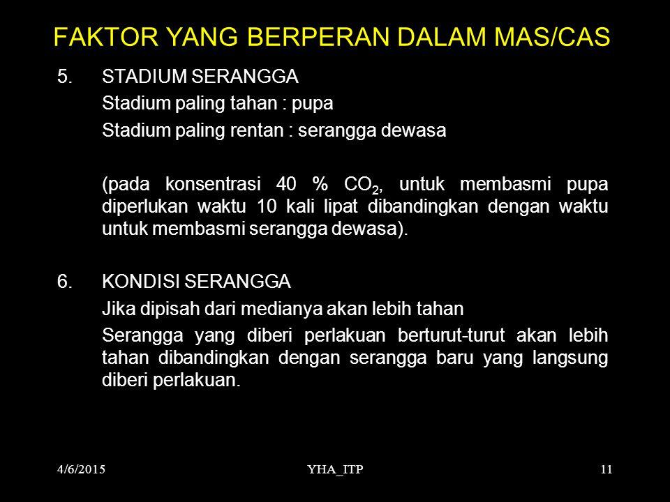 YHA_ITP11 FAKTOR YANG BERPERAN DALAM MAS/CAS 5.STADIUM SERANGGA Stadium paling tahan : pupa Stadium paling rentan : serangga dewasa (pada konsentrasi