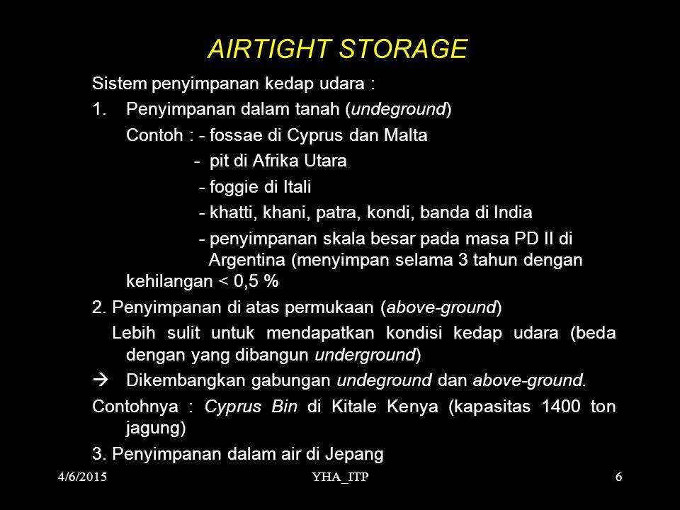 YHA_ITP6 AIRTIGHT STORAGE Sistem penyimpanan kedap udara : 1.Penyimpanan dalam tanah (undeground) Contoh : - fossae di Cyprus dan Malta - pit di Afrik