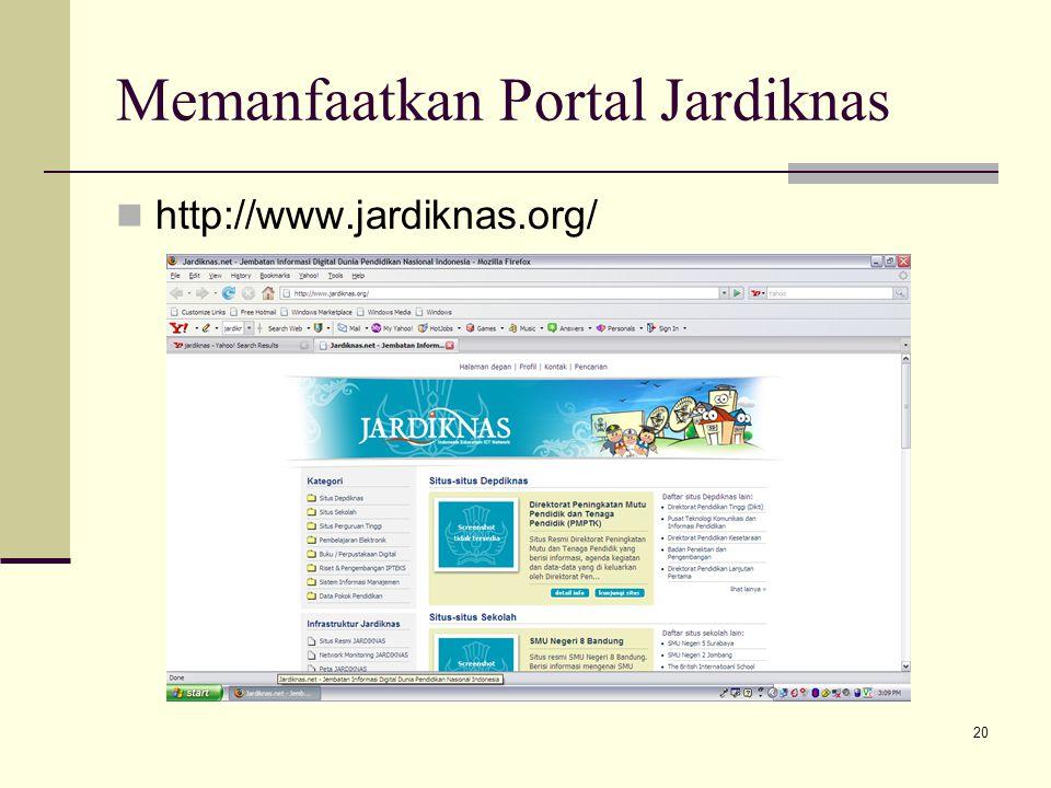 20 Memanfaatkan Portal Jardiknas http://www.jardiknas.org/