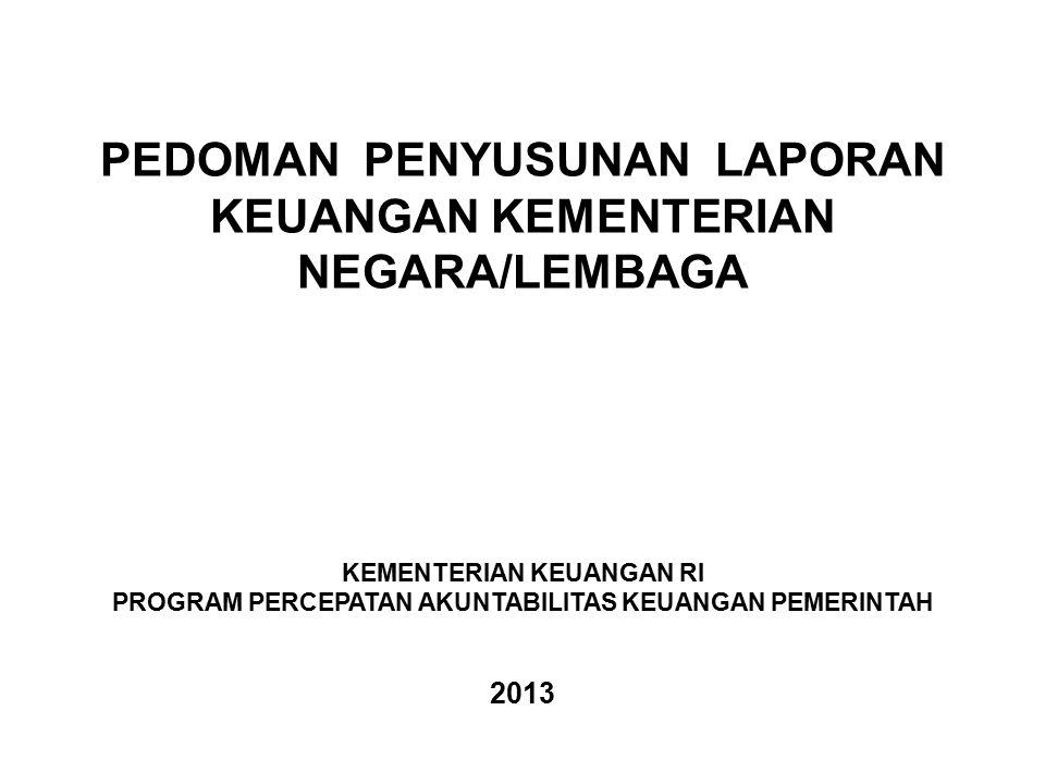PEDOMAN PENYUSUNAN LAPORAN KEUANGAN KEMENTERIAN NEGARA/LEMBAGA KEMENTERIAN KEUANGAN RI PROGRAM PERCEPATAN AKUNTABILITAS KEUANGAN PEMERINTAH 2013