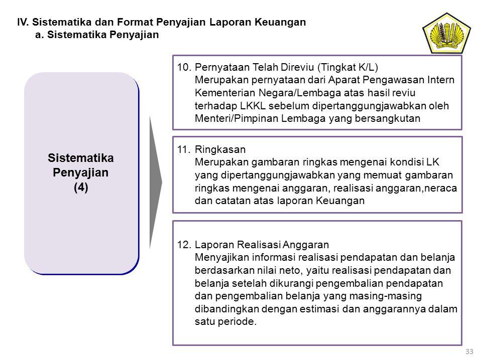 33 Sistematika Penyajian (4) Sistematika Penyajian (4) 10.Pernyataan Telah Direviu (Tingkat K/L) Merupakan pernyataan dari Aparat Pengawasan Intern Ke