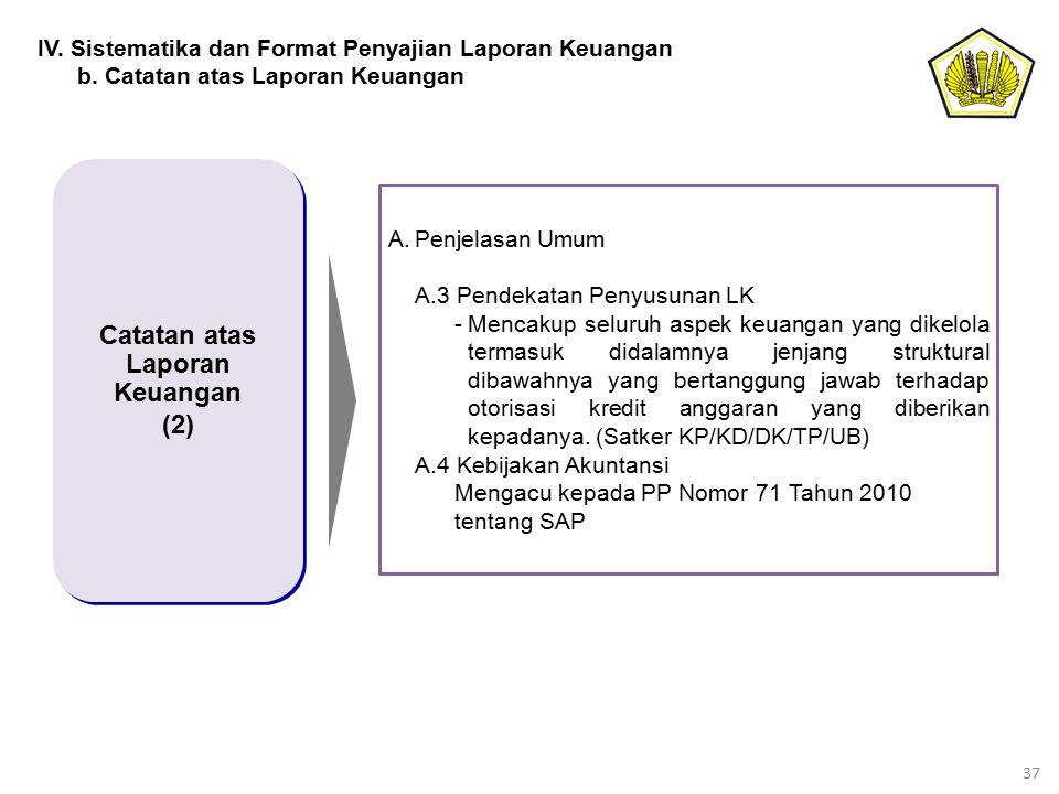 37 Catatan atas Laporan Keuangan (2) Catatan atas Laporan Keuangan (2) A.Penjelasan Umum A.3 Pendekatan Penyusunan LK -Mencakup seluruh aspek keuangan