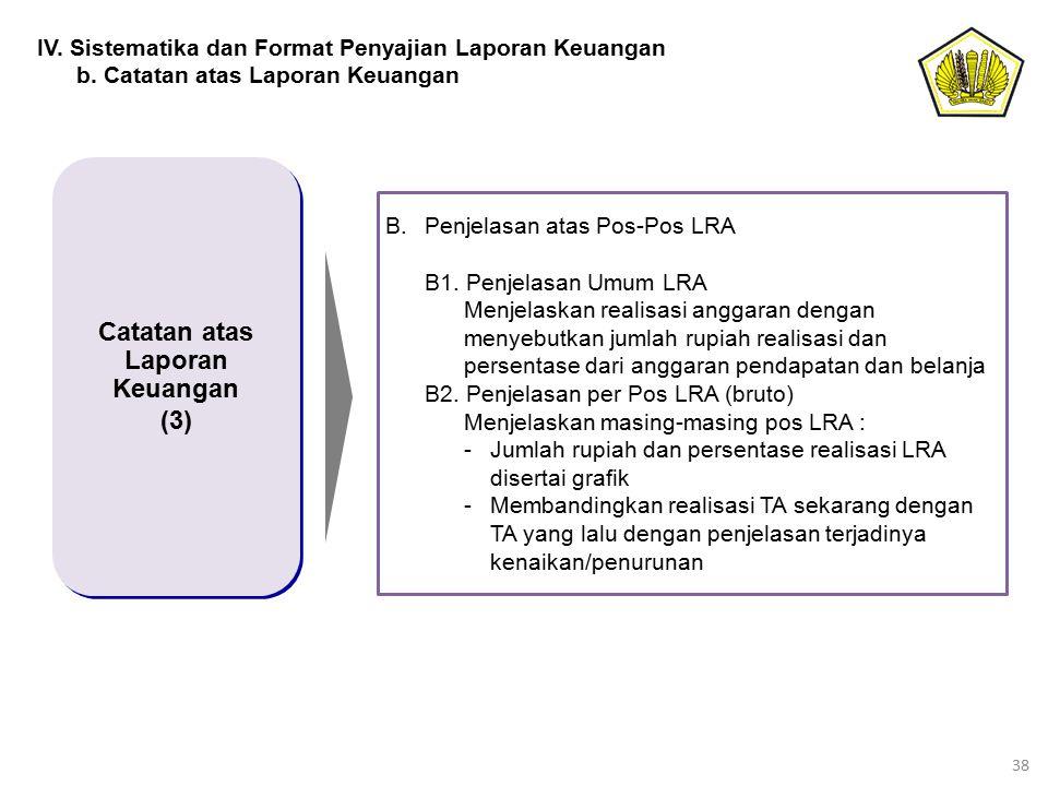 38 Catatan atas Laporan Keuangan (3) Catatan atas Laporan Keuangan (3) IV. Sistematika dan Format Penyajian Laporan Keuangan b. Catatan atas Laporan K