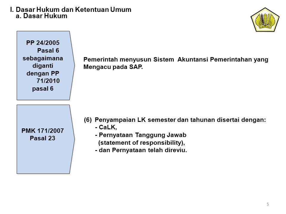 PP 24/2005 Pasal 6 sebagaimana diganti dengan PP 71/2010 pasal 6 Pemerintah menyusun Sistem Akuntansi Pemerintahan yang Mengacu pada SAP. PMK 171/2007
