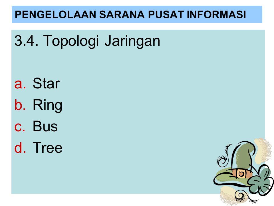 PENGELOLAAN SARANA PUSAT INFORMASI 3.4. Topologi Jaringan a.Star b.Ring c.Bus d.Tree