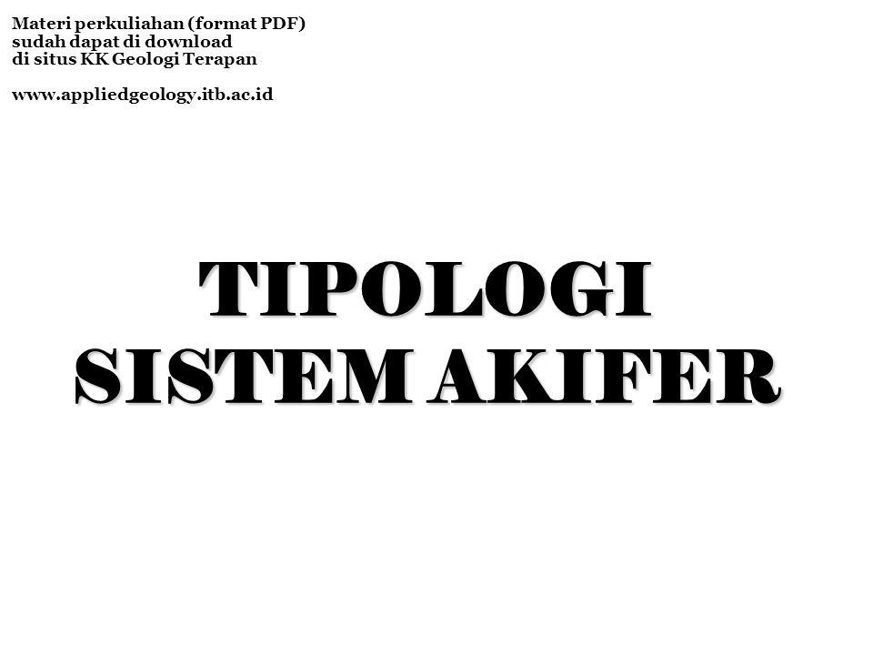 TIPOLOGI SISTEM AKIFER Materi perkuliahan (format PDF) sudah dapat di download di situs KK Geologi Terapan www.appliedgeology.itb.ac.id
