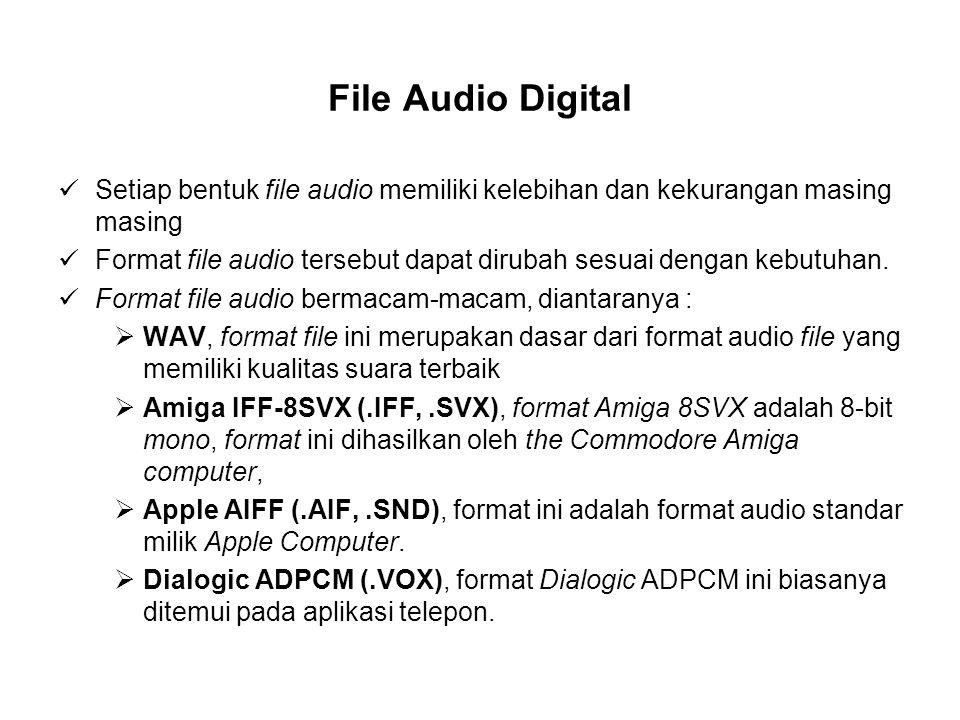 File Audio Digital Setiap bentuk file audio memiliki kelebihan dan kekurangan masing masing Format file audio tersebut dapat dirubah sesuai dengan kebutuhan.