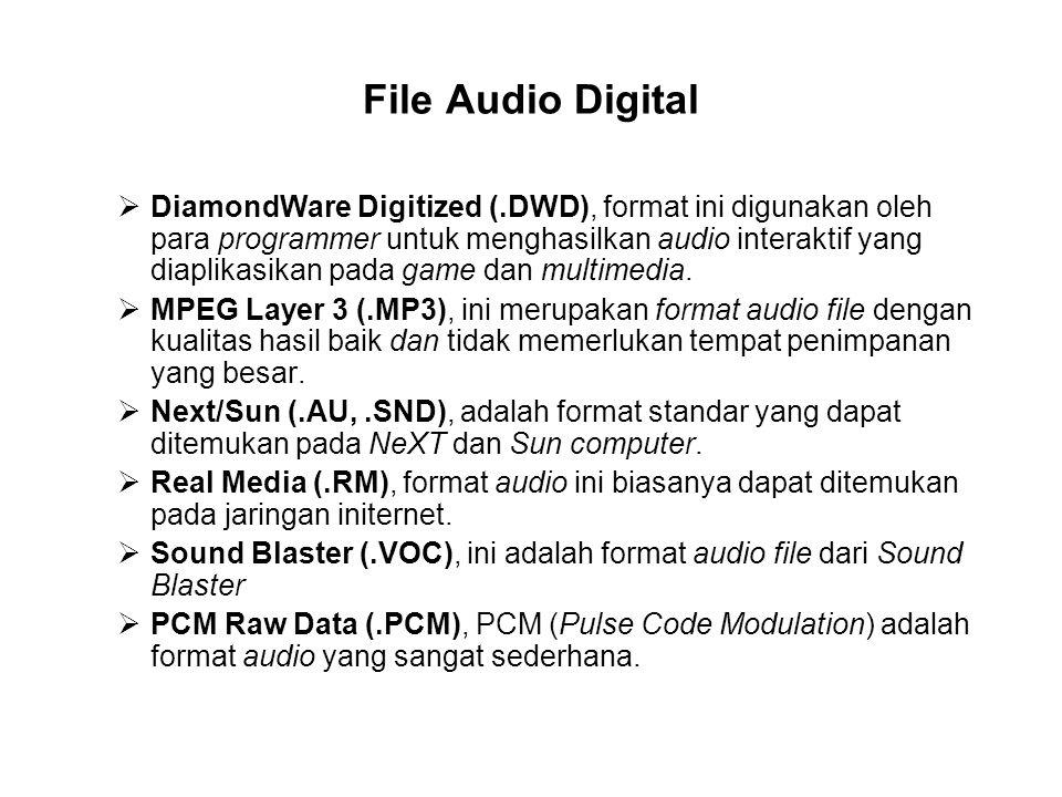 File Audio Digital  DiamondWare Digitized (.DWD), format ini digunakan oleh para programmer untuk menghasilkan audio interaktif yang diaplikasikan pada game dan multimedia.