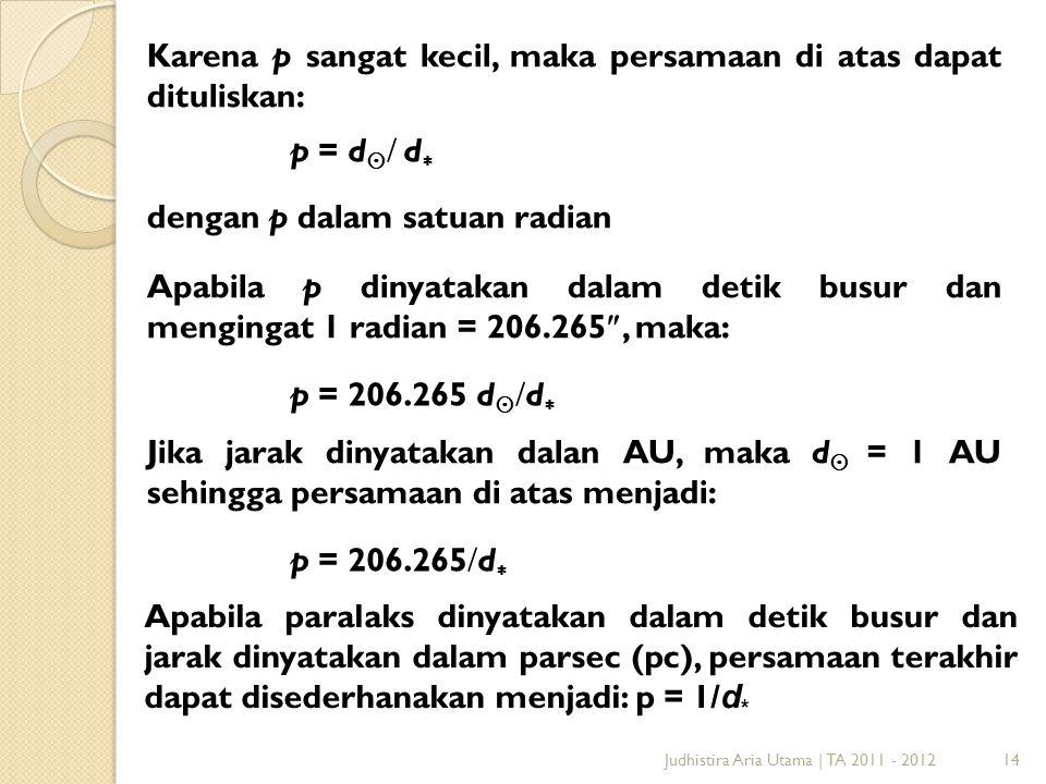 14 Karena p sangat kecil, maka persamaan di atas dapat dituliskan: p = d   d  dengan p dalam satuan radian Apabila p dinyatakan dalam detik busur
