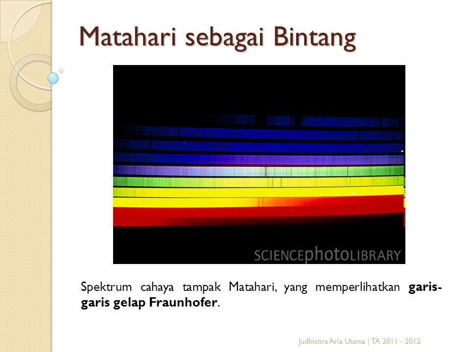 Matahari sebagai Bintang Spektrum cahaya tampak Matahari, yang memperlihatkan garis- garis gelap Fraunhofer. Judhistira Aria Utama | TA 2011 - 2012
