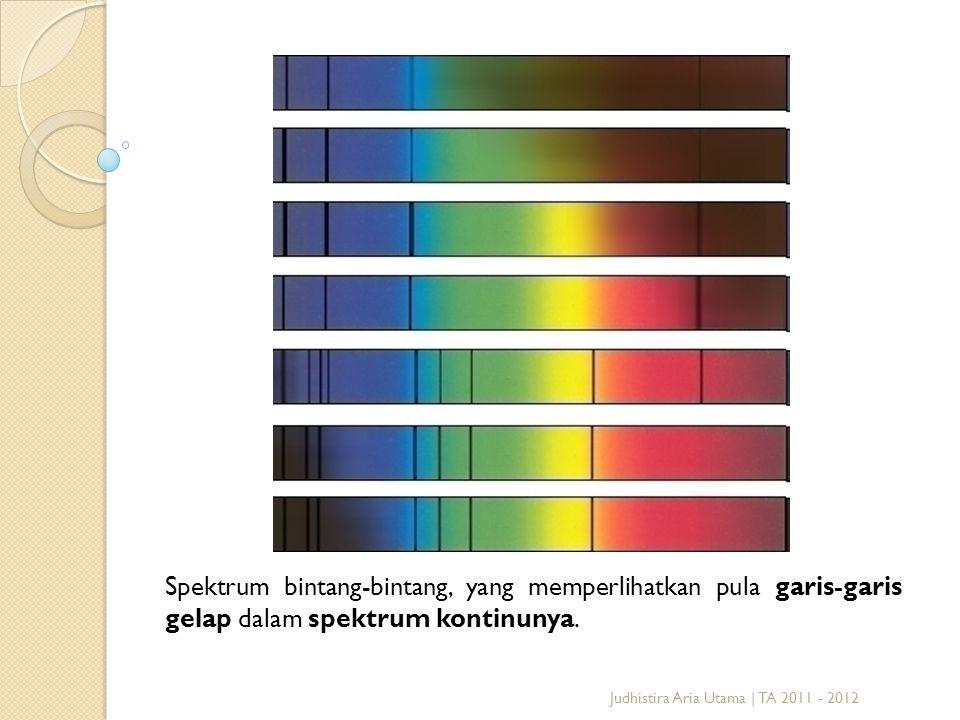 Spektrum bintang-bintang, yang memperlihatkan pula garis-garis gelap dalam spektrum kontinunya. Judhistira Aria Utama | TA 2011 - 2012