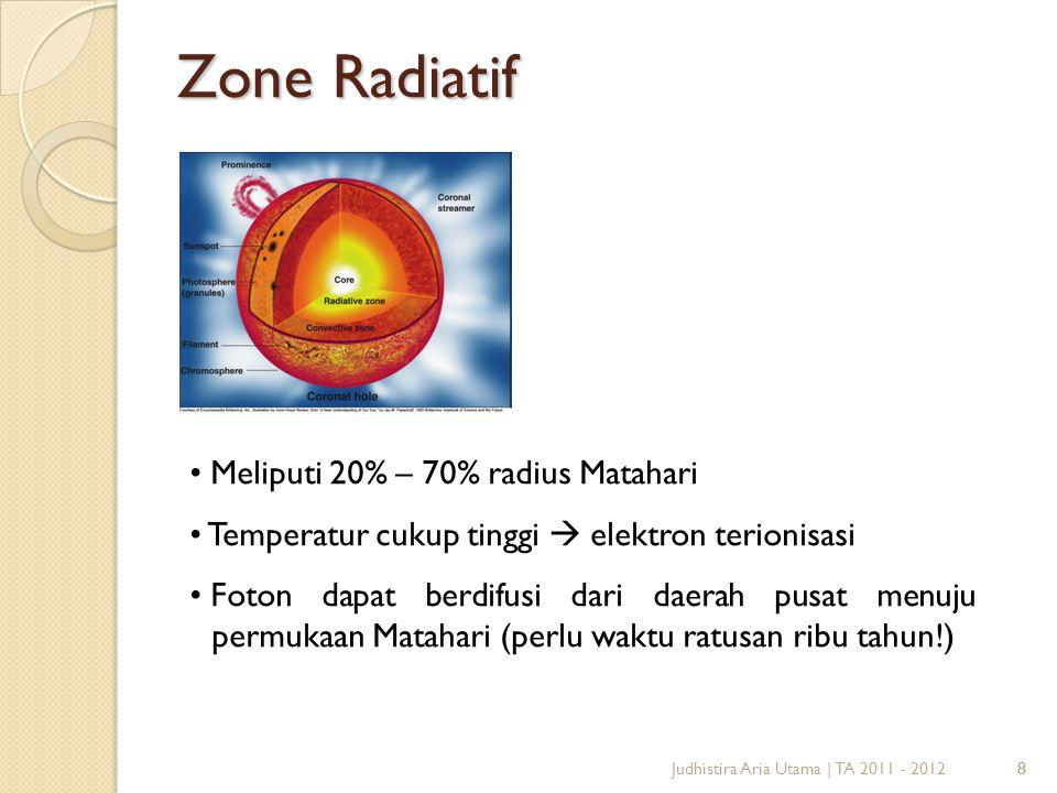 8 Zone Radiatif 8Judhistira Aria Utama | TA 2011 - 2012 Meliputi 20% – 70% radius Matahari Temperatur cukup tinggi  elektron terionisasi Foton dapat