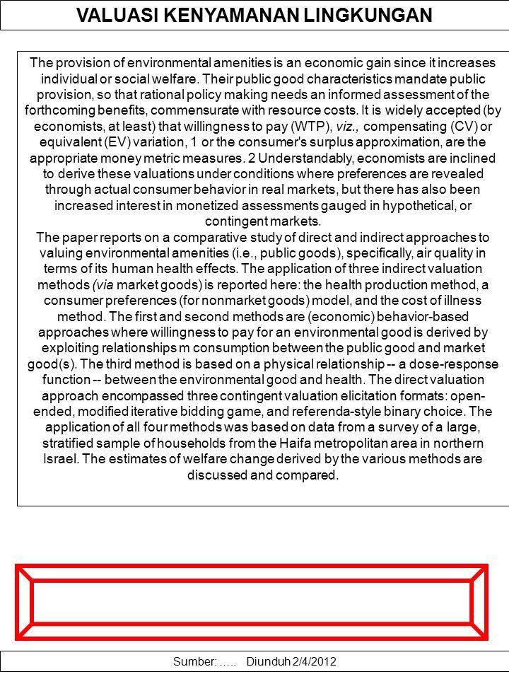 VALUASI AMENITAS JASA EKOSISTEM Pemanfaatan dan eksploitasi sumberdaya alam dan ekosistemya yang tidak diimbangi oleh upaya konservasi yang memadai te