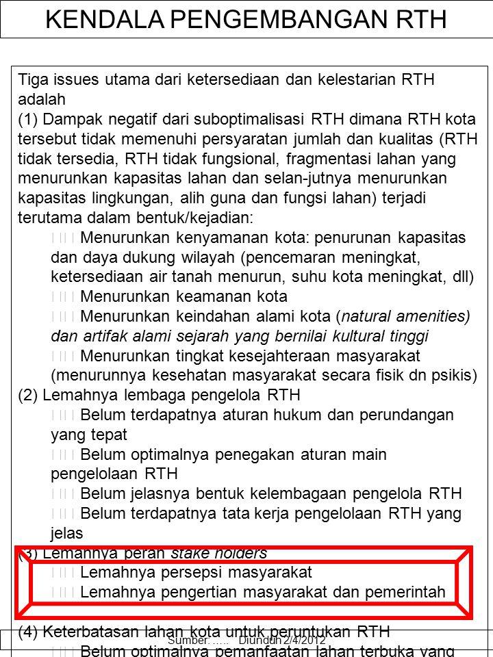 Teknis Perencanaan RTH Dalam rencana pembangunan dan pengembangan RTH yang fungsional suatu wilayah perkotaan, ada 4 (empat) hal utama yang harus dipe