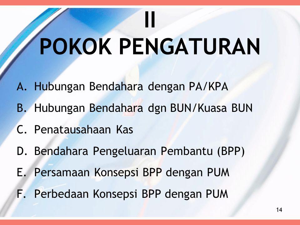 II POKOK PENGATURAN A.Hubungan Bendahara dengan PA/KPA B.Hubungan Bendahara dgn BUN/Kuasa BUN C.Penatausahaan Kas D.Bendahara Pengeluaran Pembantu (BP