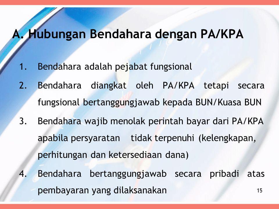 A. Hubungan Bendahara dengan PA/KPA 1.Bendahara adalah pejabat fungsional 2.Bendahara diangkat oleh PA/KPA tetapi secara fungsional bertanggungjawab k