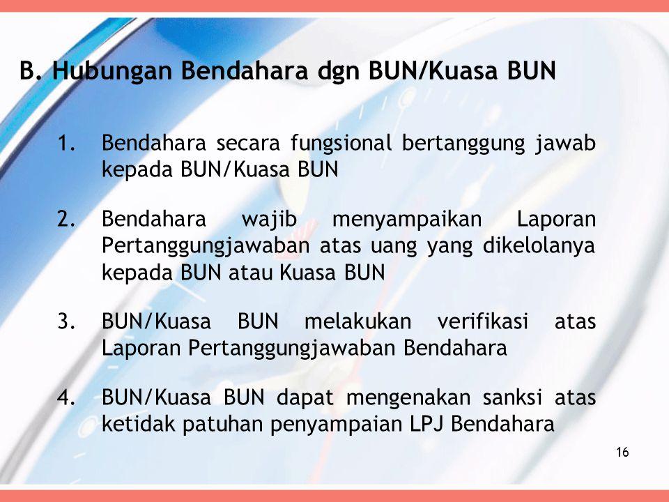 B. Hubungan Bendahara dgn BUN/Kuasa BUN 1.Bendahara secara fungsional bertanggung jawab kepada BUN/Kuasa BUN 2.Bendahara wajib menyampaikan Laporan Pe