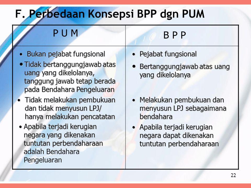 F. Perbedaan Konsepsi BPP dgn PUM P U M B P P Tidak bertanggungjawab atas uang yang dikelolanya, tanggung jawab tetap berada pada Bendahara Pengeluara