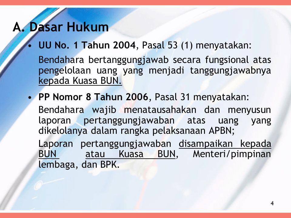 UU No. 1 Tahun 2004, Pasal 53 (1) menyatakan: Bendahara bertanggungjawab secara fungsional atas pengelolaan uang yang menjadi tanggungjawabnya kepada