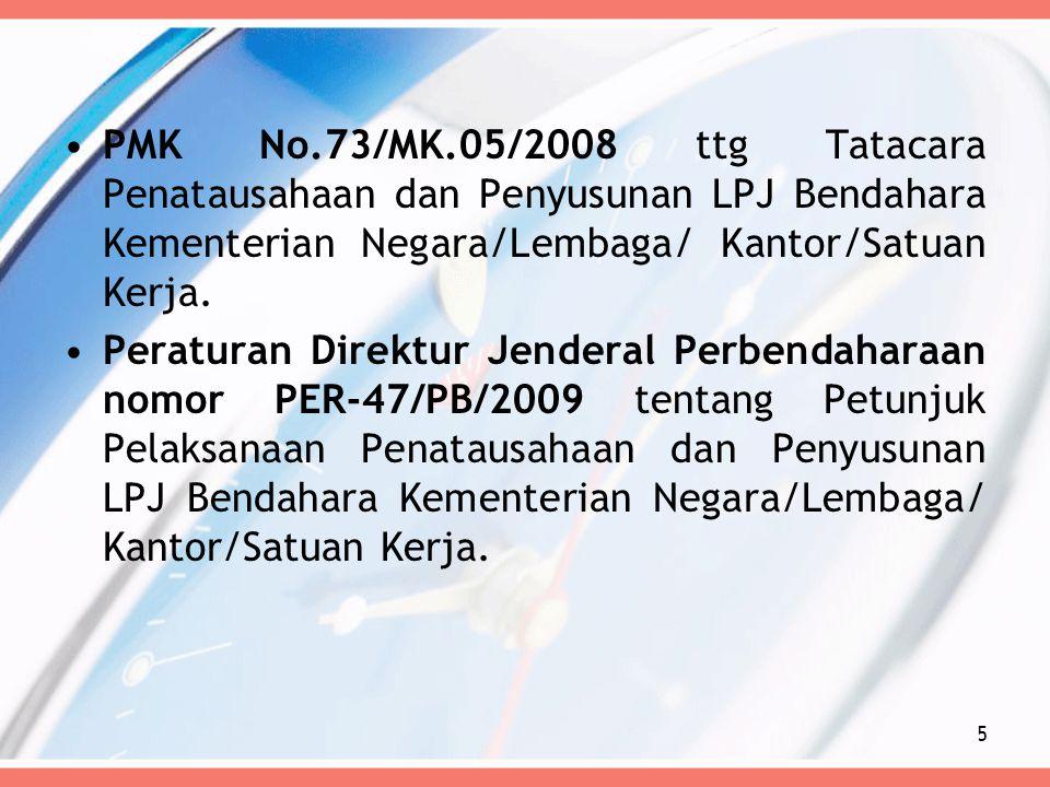 PMK No.73/MK.05/2008 ttg Tatacara Penatausahaan dan Penyusunan LPJ Bendahara Kementerian Negara/Lembaga/ Kantor/Satuan Kerja. Peraturan Direktur Jende