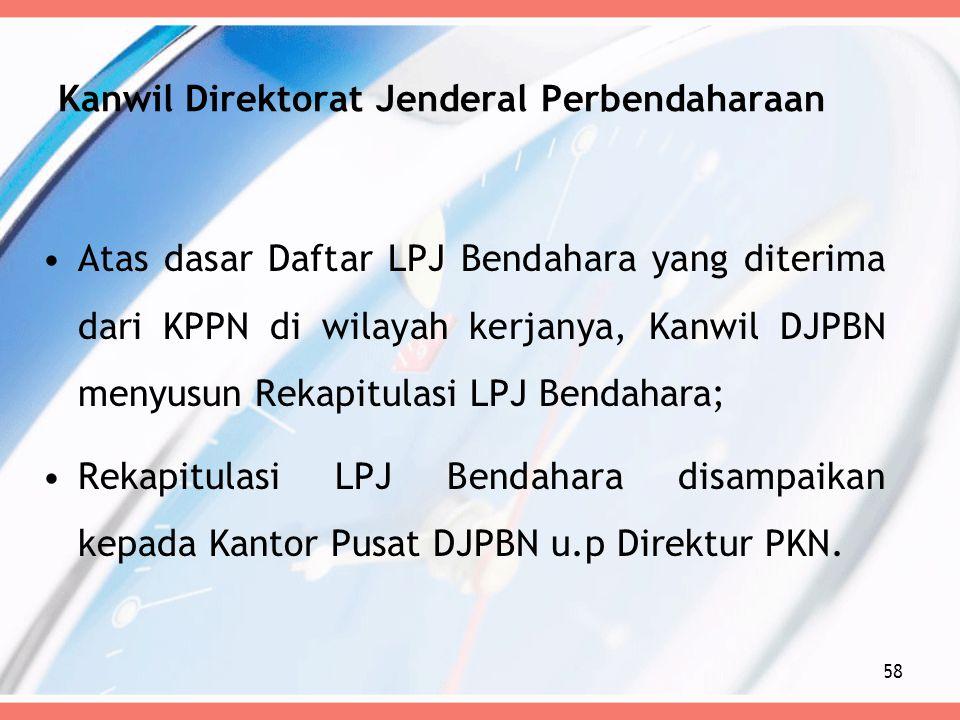 Kanwil Direktorat Jenderal Perbendaharaan Atas dasar Daftar LPJ Bendahara yang diterima dari KPPN di wilayah kerjanya, Kanwil DJPBN menyusun Rekapitul