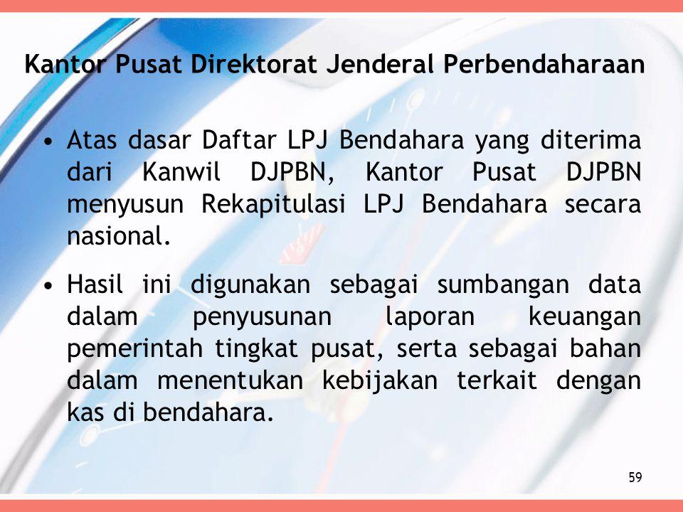 Kantor Pusat Direktorat Jenderal Perbendaharaan Atas dasar Daftar LPJ Bendahara yang diterima dari Kanwil DJPBN, Kantor Pusat DJPBN menyusun Rekapitul