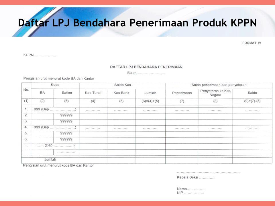Daftar LPJ Bendahara Penerimaan Produk KPPN 60