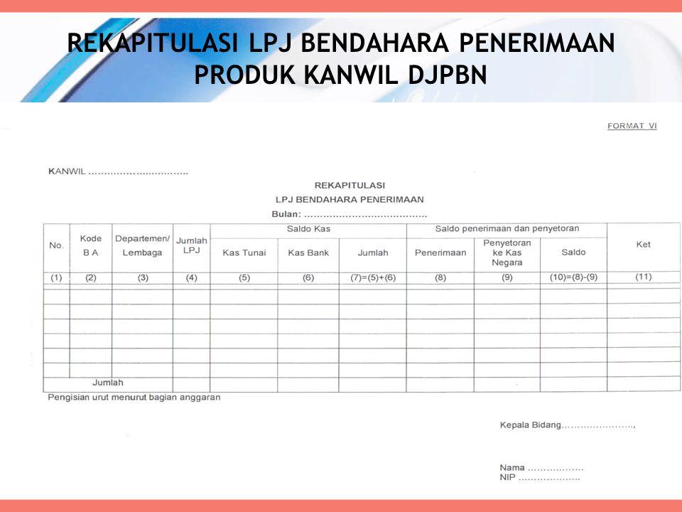 REKAPITULASI LPJ BENDAHARA PENERIMAAN PRODUK KANWIL DJPBN 62